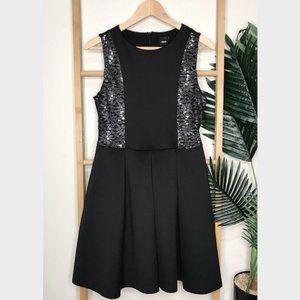 ASOS Black Sequin Lace Insert A Line Dress 12
